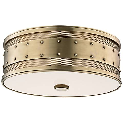 """Hudson Valley Gaines 16"""" Wide Aged Brass Ceiling Light"""