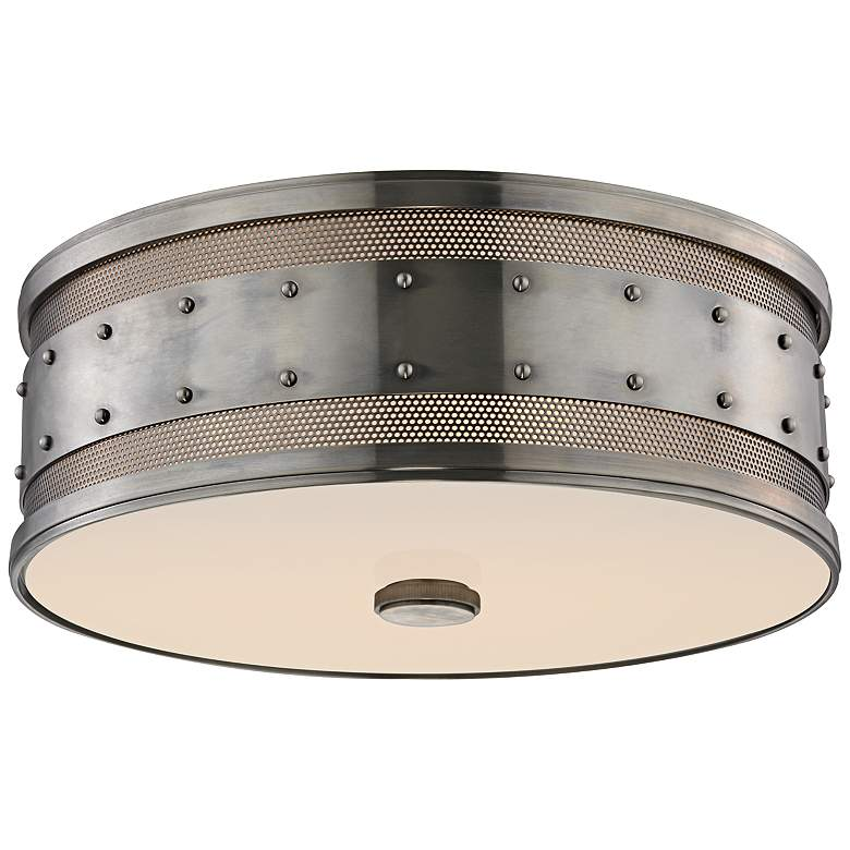 "Hudson Valley Gaines 16""W Historic Nickel Ceiling Light"