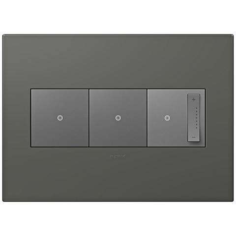 adorne Moss Grey 3-Gang Wall Plate w/ 2 Switches and Dimmer