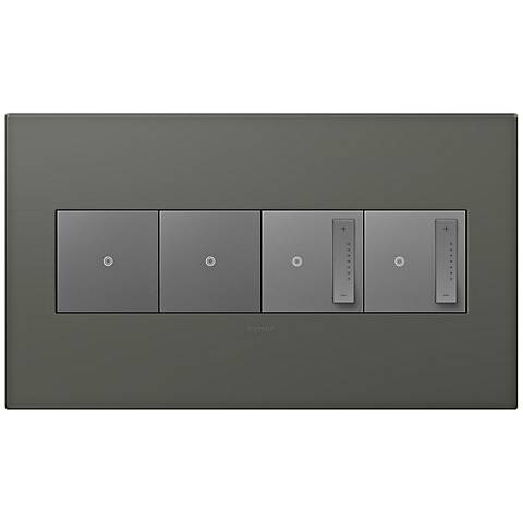 adorne Moss Grey 4-Gang Wall Plate w/ 2 Switches and 2 Dimmers