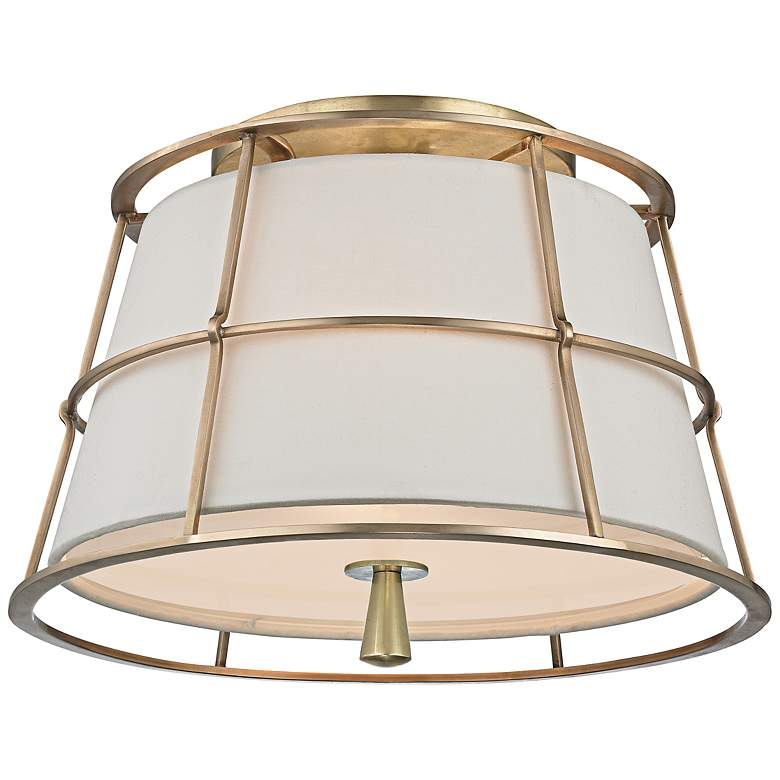"Hudson Valley Savona 14 1/4""W Aged Brass Ceiling Light"