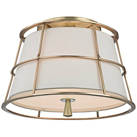 "Hudson Valley Savona 14 1/4""W Aged Brass Ceiling Light"