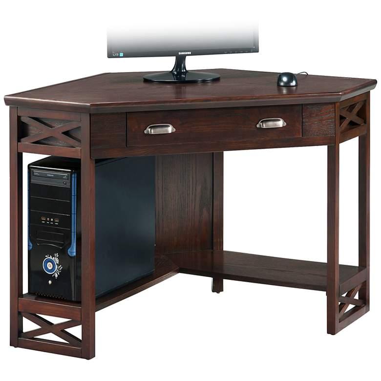 """Aldrich 48 1/2"""" Wide Chocolate Wood Corner Computer Desk"""