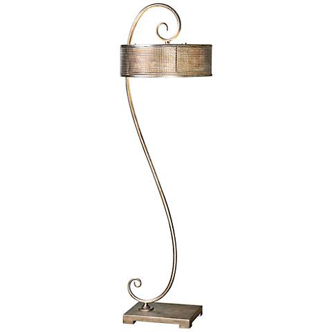 Uttermost Dalou Scroll Antiqued Silver Metal Floor Lamp