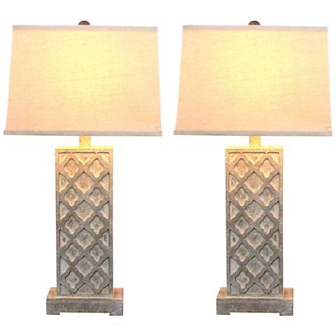 Marivi Distressed Gray Table Lamp Set of 2