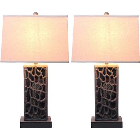 Terran Antique Bronze Table Lamp Set of 2