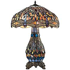 Tiffany table lamps lamps plus dimond dragonfly bronze tiffany blue glass table lamp aloadofball Images