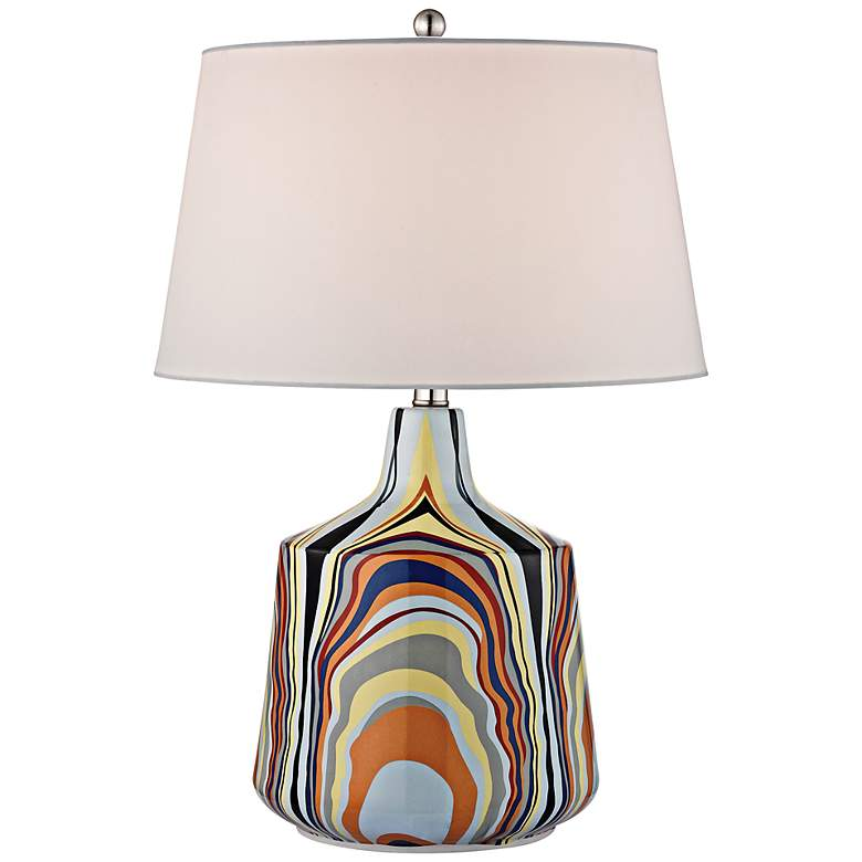 Technicolor Multicolor Stripes Table Lamp