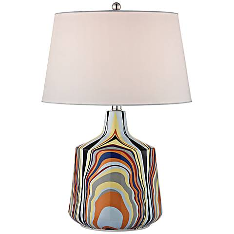 Technicolor Multicolor Stripes Table Lamp