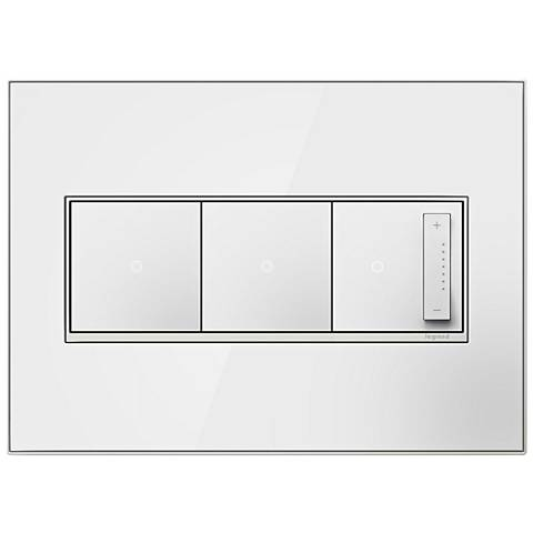 Mirror White 3-Gang Metal Wall Plate with 2 Switches and Dimmer