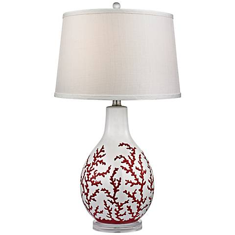 Dimond Sixpenny Red Coral White Ceramic Table Lamp