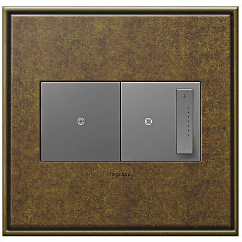 Aged Brass 2-Gang Cast Metal Wall Plate with Switch and Dimmer