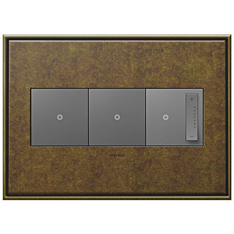 Aged Brass 3-Gang Cast Metal Wall Plate w/ 2 Switches and Dimmer