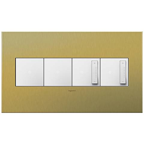 Brushed Brass 4-Gang Wall Plate with 2 Switches and 2 Dimmers