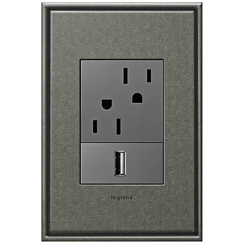 adorne Brushed Pewter 1-Gang+ Cast Metal Wall Plate w/ Outlets
