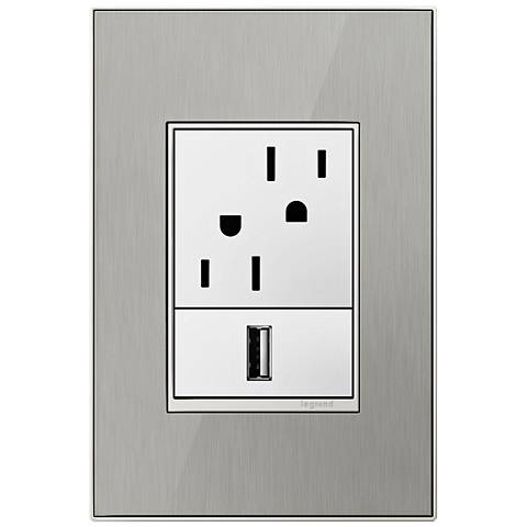 Brushed Stainless Steel 1-Gang+ Cast Metal Wall Plate w/ Outlets
