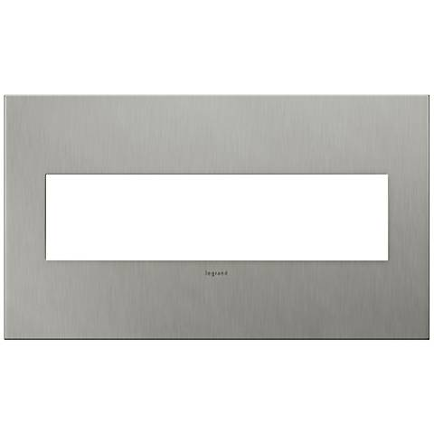 adorne® 4-Gang Brushed Stainless Steel Wall Plate