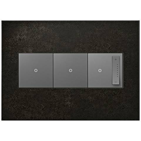 Dark Burnished Pewter 3-Gang Wall Plate w/ 2 Switches and Dimmer