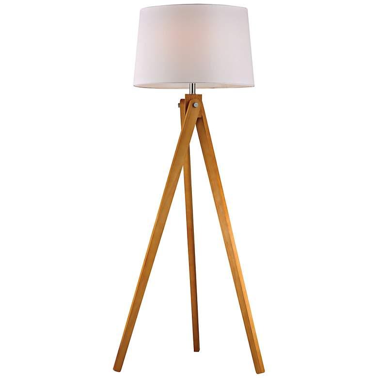 Natural Wood Modernized Tripod Floor Lamp