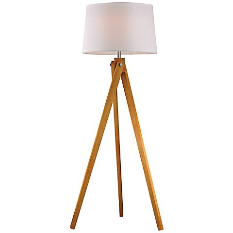 Natural Wood Modernized Tripod Floor Lamp
