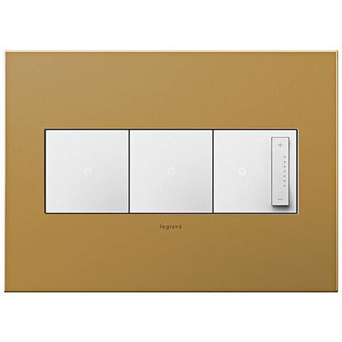 Satin Bronze 3-Gang Metal Wall Plate with 2 Switches and Dimmer