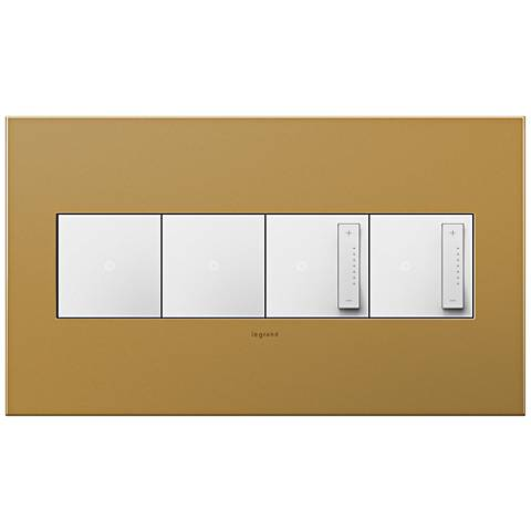 Satin Bronze 4-Gang Wall Plate with 2 Switches and 2 Dimmers