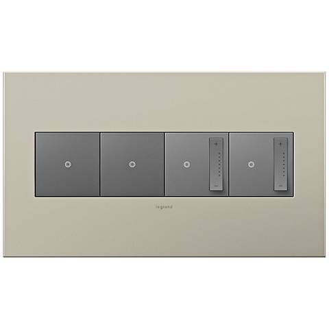 Satin Nickel 4-Gang Metal Wall Plate w/ 2 Switches and 2 Dimmers