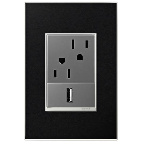 adorne Black Leather 1-Gang+ Real Metal Wall Plate with Outlets