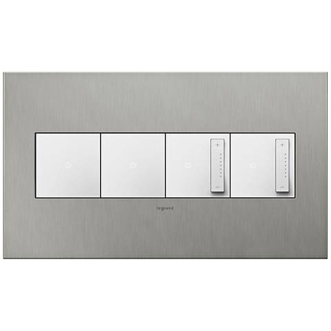 Brushed Stainless 4-Gang Wall Plate w/ 2 Switches and 2 Dimmers