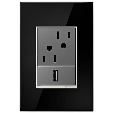 adorne Mirror Black 1-Gang+ Real Metal Wall Plate with Outlets