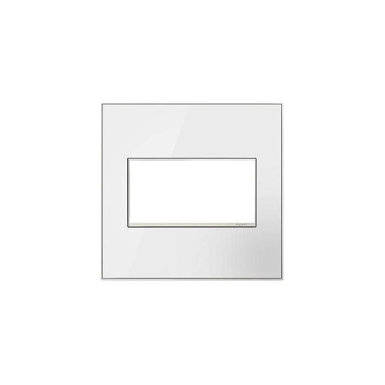 adorne® 2-Gang Mirror White with Black Back Wall Plate