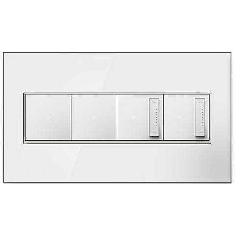 Mirror White 4-Gang Wall Plate with 2 Switches and 2 Dimmers