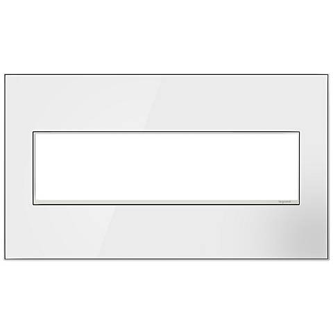 adorne® 4-Gang Mirror White with Black Back Wall Plate