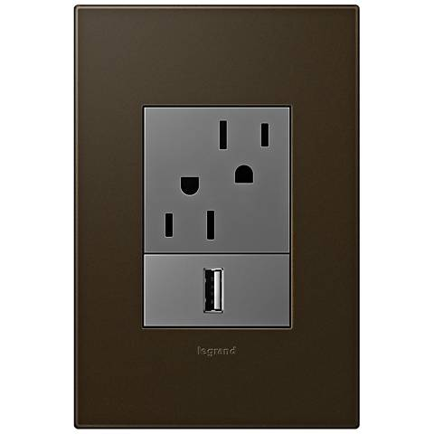 adorne Bronze 1-Gang+ Wall Plate with Outlets