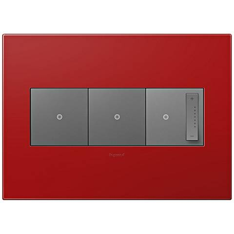 adorne Cherry 3-Gang Wall Plate w/ 2 Switches and Dimmer