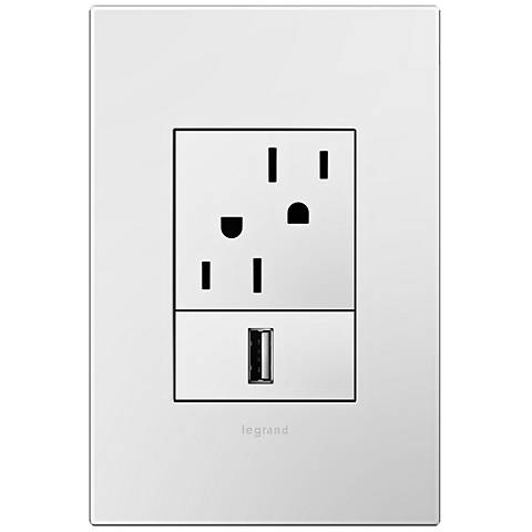 adorne Gloss White 1-Gang+ Wall Plate with Outlets