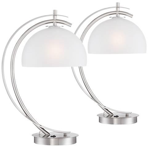 Set of 2 Possini Euro Calvin Glass Dome USB Table Lamps