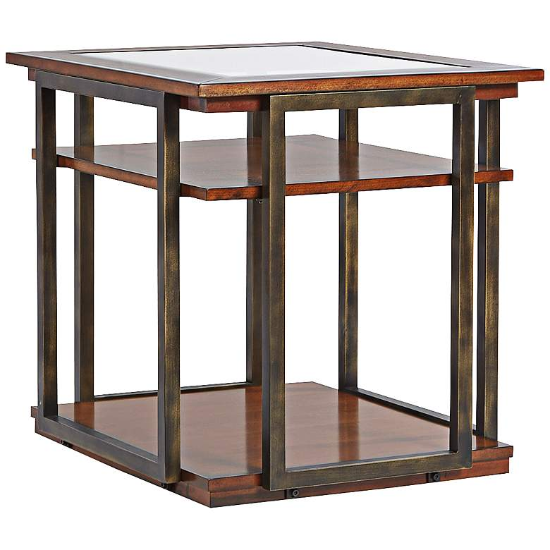 """Skylines 27"""" Wide Cherry Finish End Table"""