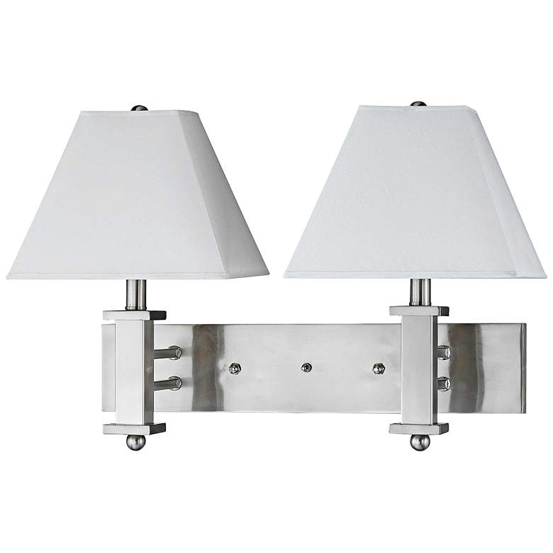 Cal Lighting Brushed Steel 2-Light Plug-In Wall Lamp