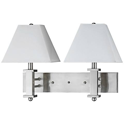Cal Lighting Brushed Steel 2-Light Plug-In Wall Lamp