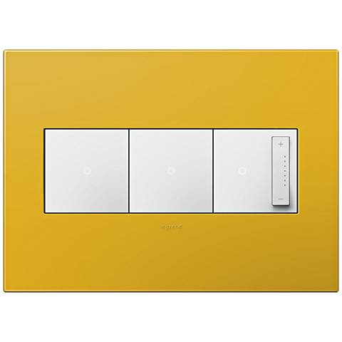 adorne Honey 3-Gang Wall Plate w/ 2 Switches and Dimmer