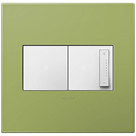 adorne Lichen Green 2-Gang Wall Plate w/ Switch and Dimmer