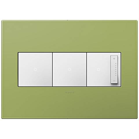 adorne Lichen Green 3-Gang Wall Plate w/ 2 Switches and Dimmer