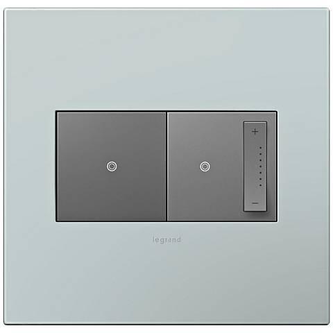 adorne Pale Blue 2-Gang Wall Plate w/ Switch and Dimmer