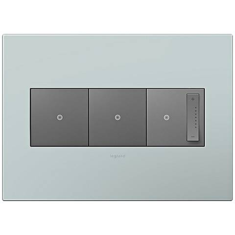 adorne Pale Blue 3-Gang Wall Plate w/ 2 Switches and Dimmer