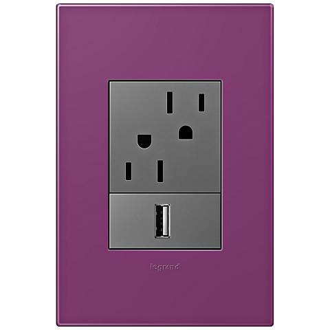 adorne Plum 1-Gang+ Wall Plate w/ Outlets