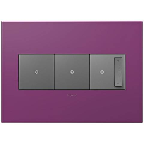 adorne Plum 3-Gang Wall Plate w/ 2 Switches and Dimmer