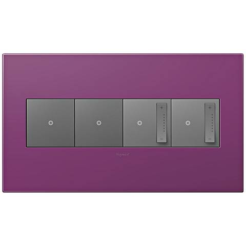 adorne Plum 4-Gang Wall Plate w/ 2 Switches and 2 Dimmers