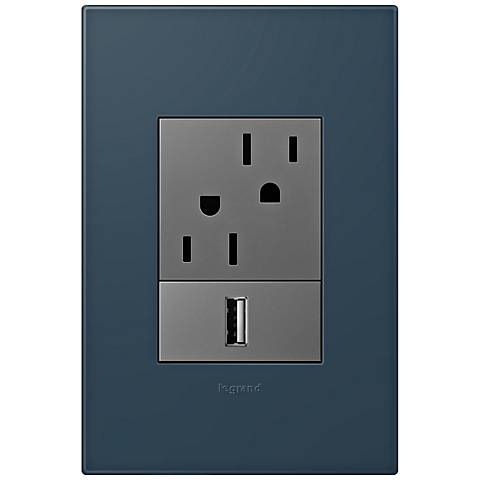 adorne Felt Green 1-Gang+ Wall Plate w/ Outlets