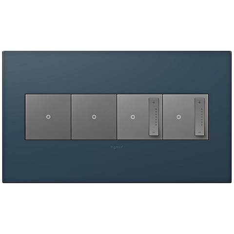 adorne Felt Green 4-Gang Wall Plate w/ 2 Switches and 2 Dimmers